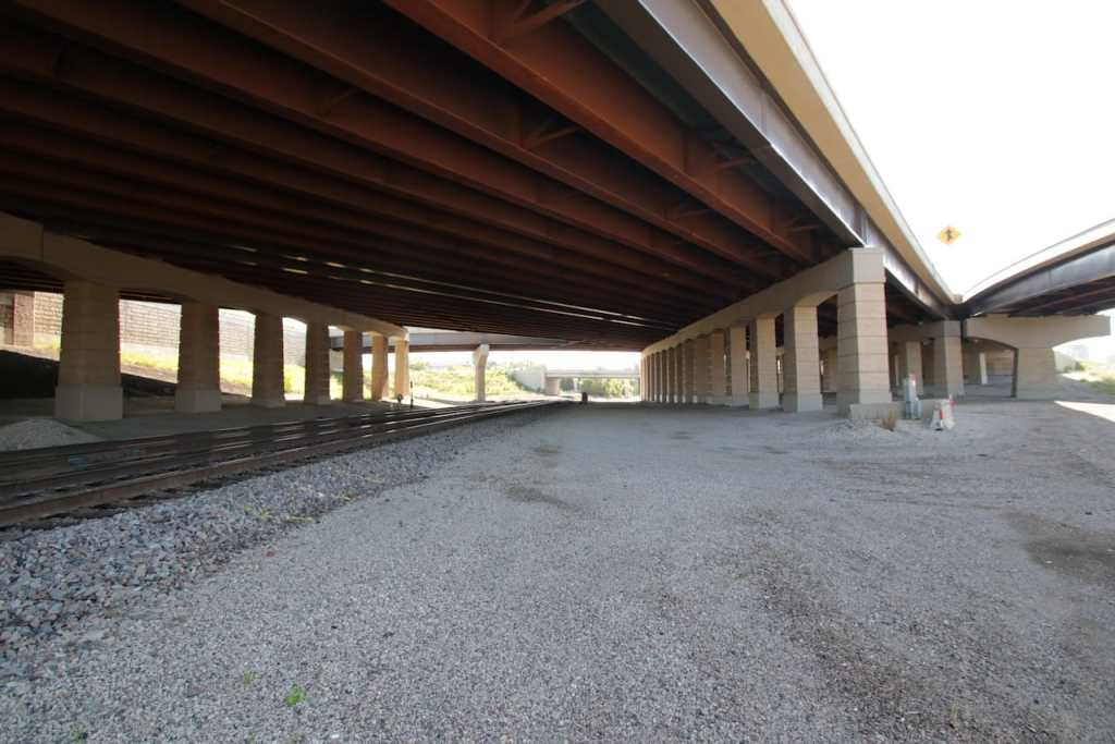 Looking south at BNSF tracks in what was called Trout Brook, under 35E.