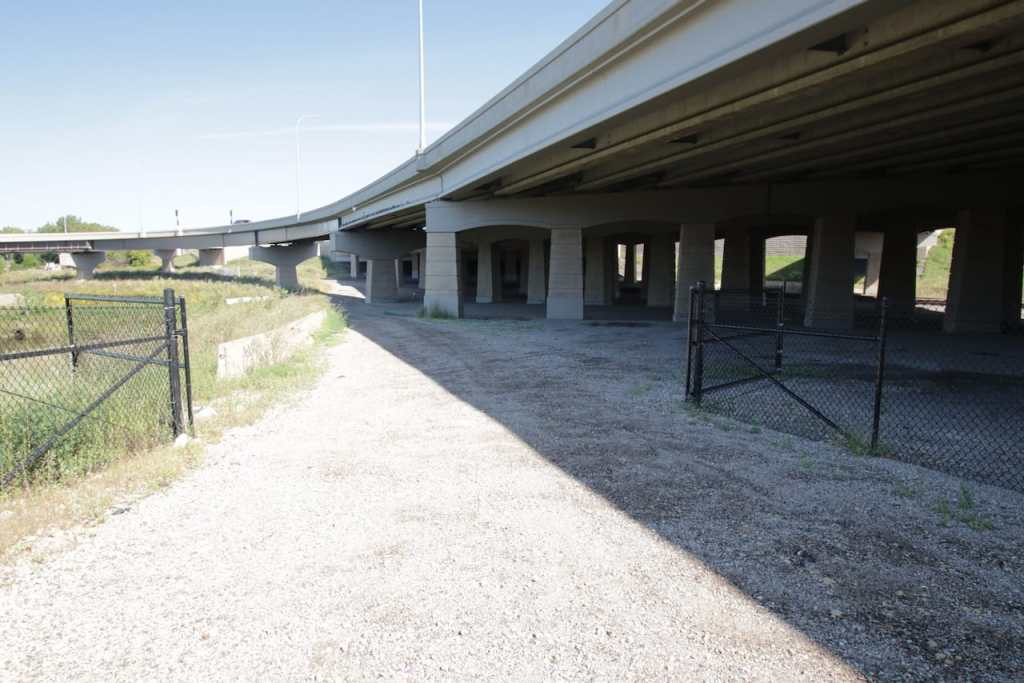 These gates give MNDOT employees, railroad maintenance crews (and nosy bike riders) admittance to railroad right-of-way and the substructure of Interstate 35E.