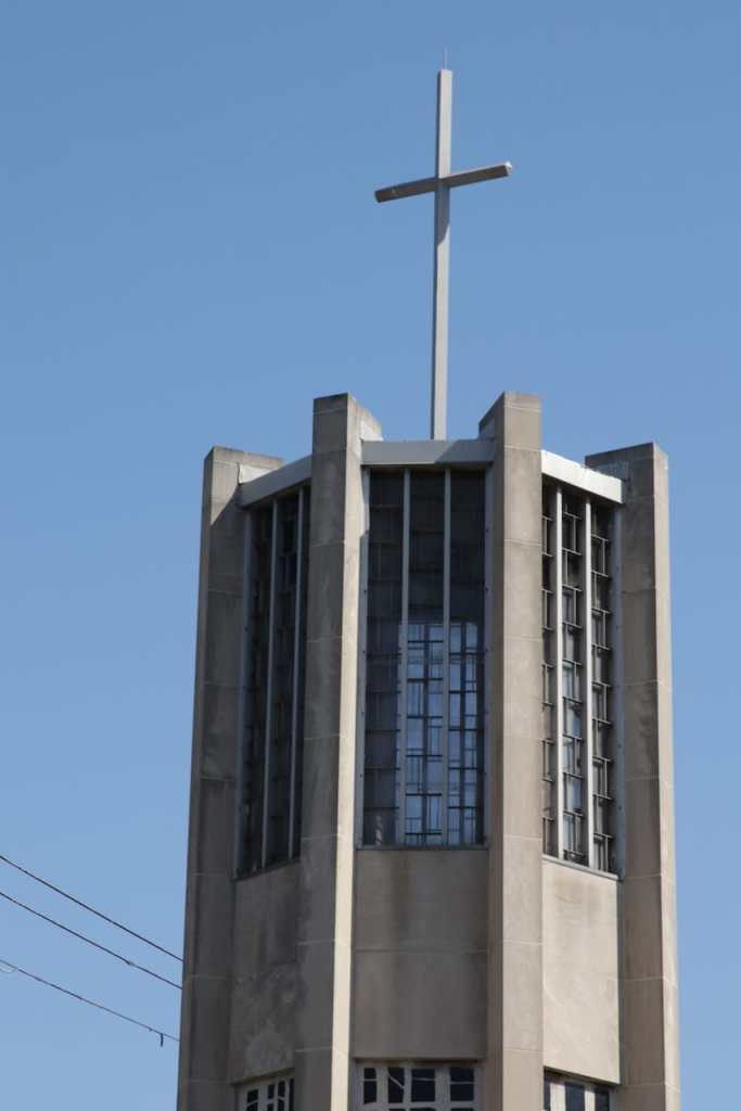 The unique steeple of New Hope Baptist.