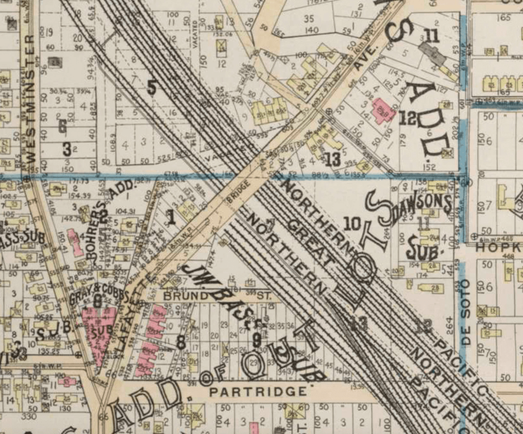 This 1892 plat map shows how At least nine railroad tracks crowded Westminster Junction north of the Lafayette Avenue bridge according to this 1892 plat map. City of St. Paul, MN. 1892. Reuben H. Donnelley Courtesy U of Minnesota Borchert Map Library