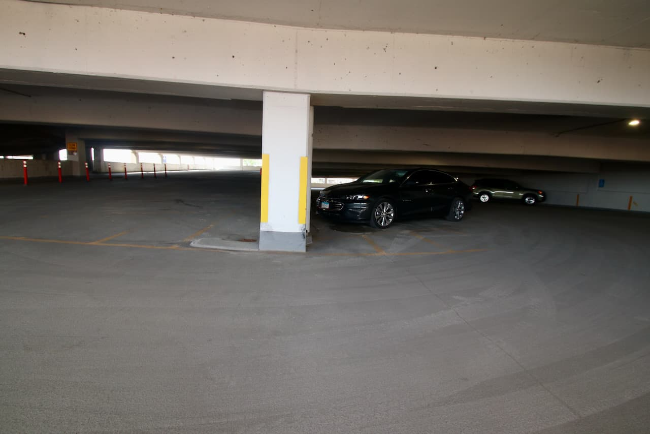 Only two cars parked on the third level of the St. Joe's parking garage. Prior to the closure of most traditional hospital services (including the emergency room), this level - and most of the five above it - would have been packed with vehicles.