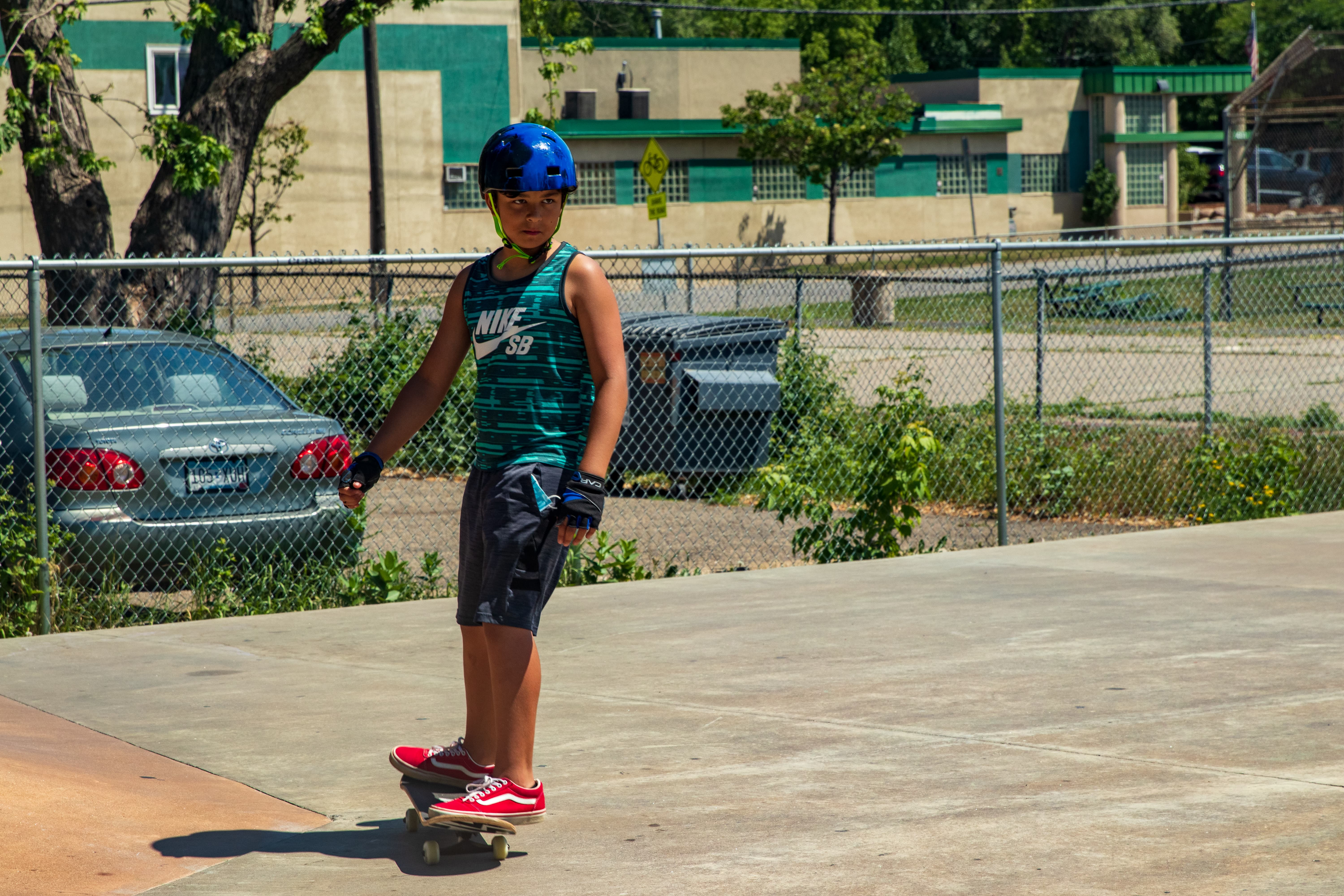 Max, the lone skateboarder using the Front Skate Park course when I pulled up.