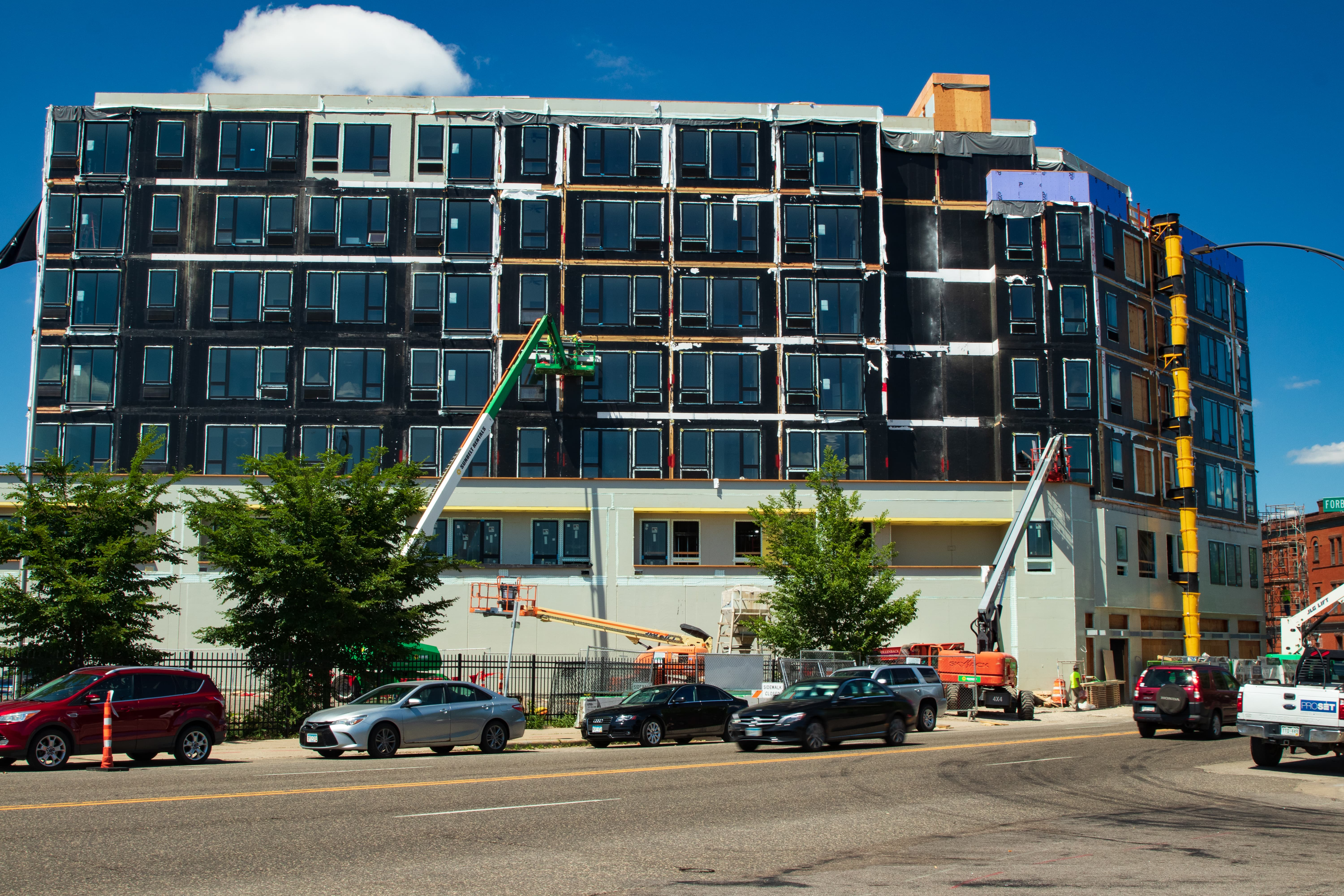 The seven-story Alvera Apartments takes shape at 337 West Seventh Street. It is the largest modular construction project ever in Minnesota.