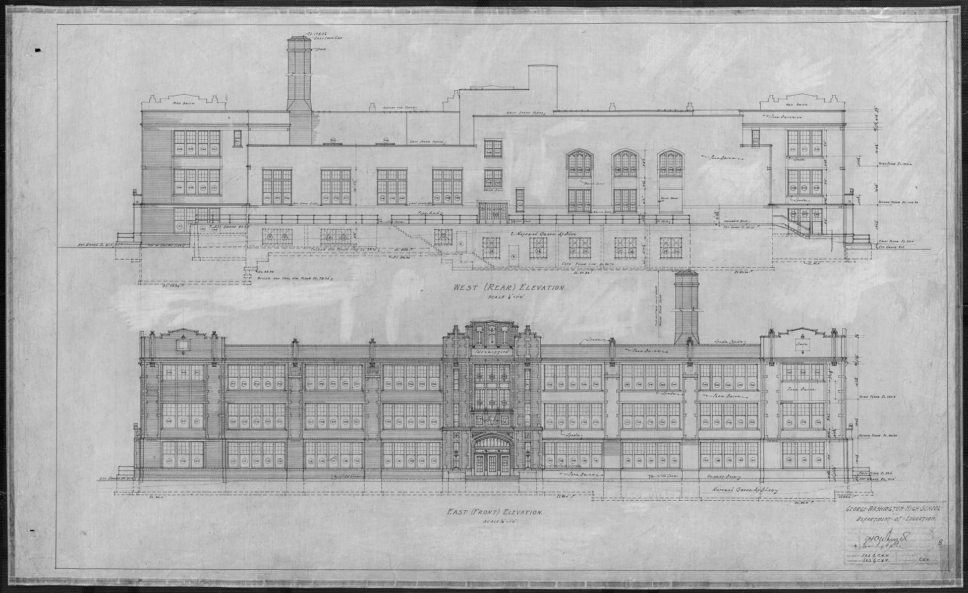 """An architectural drawing of the main (east-facing) entrance of Washington High School circa 1925. (Wigington, Clarence Wesley, 1883-1967. 1924.""""Washington (George) High School, Half Plans, Sections."""" University of Minnesota Libraries, Northwest Architectural Archives., Accessed June 26, 2021. https://umedia.lib.umn.edu/item/p16022coll254:214)"""